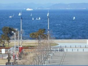 ヨットが行き交う瀬戸内海(香川県高松市)の写真素材 [FYI01235361]