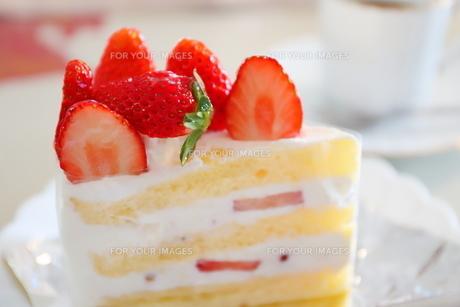 コーヒーとイチゴのショートケーキの写真素材 [FYI01235840]