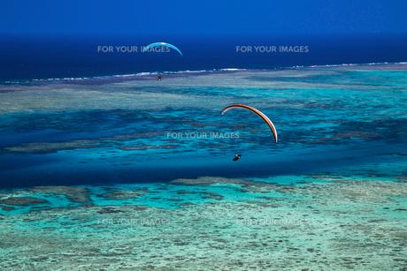 沖縄の海とパラグライダーの写真素材 [FYI01235941]