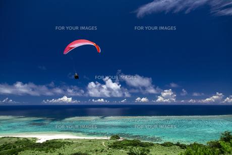 沖縄の海とパラグライダーの写真素材 [FYI01235945]