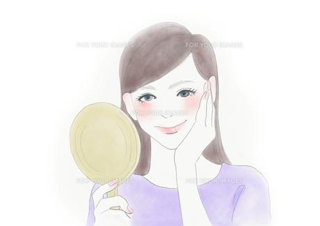鏡を見て微笑む女性のイラストのイラスト素材 [FYI01236084]