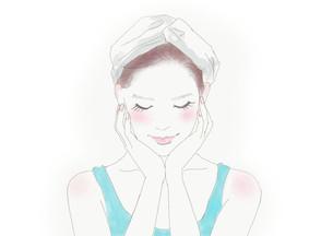 スキンケアをする女性のイラスト素材 [FYI01236085]