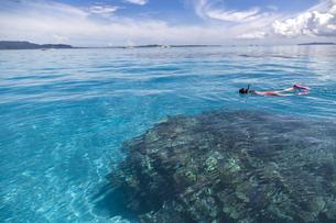 青く透明な海でシュノーケリングの写真素材 [FYI01236435]