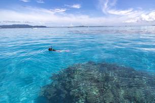 青く透明な海でシュノーケリングの写真素材 [FYI01236436]