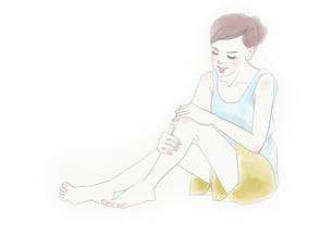 ボディケアをする女性のイラストのイラスト素材 [FYI01237010]