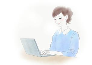 PCを使う女性のイラスト素材 [FYI01237011]