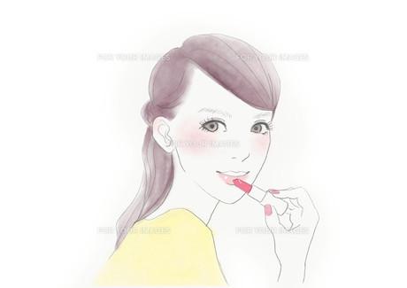 口紅をつける女性のイラスト素材 [FYI01237014]