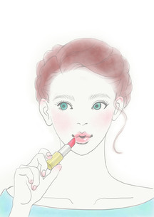 口紅をつける女性のイラスト素材 [FYI01237015]