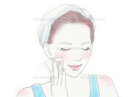 スキンケアをする女性のイラスト素材 [FYI01237017]