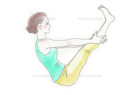 ヨガをする女性のイラスト素材 [FYI01237018]
