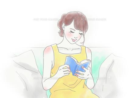 本を読む女性のイラスト素材 [FYI01237021]