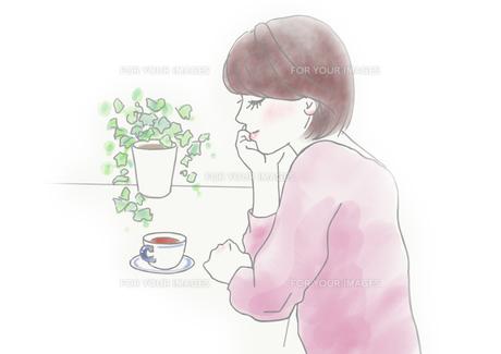 お茶を飲む女性のイラスト素材 [FYI01237022]