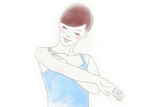 ボディケアをする女性のイラスト素材 [FYI01237023]
