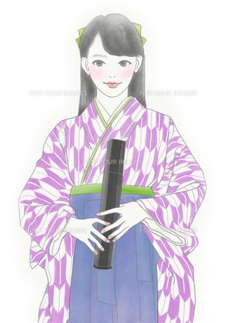 袴姿の女性のイラスト素材 [FYI01237024]