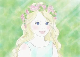 花冠をかぶった少女のイラスト素材 [FYI01237041]