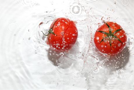 トマトと水飛沫の写真素材 [FYI01237470]