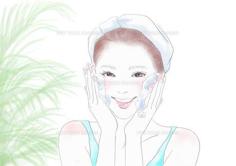 洗顔をする女性のイラスト素材 [FYI01237484]