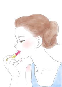 口紅を塗る女性のイラスト素材 [FYI01237485]