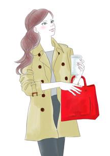 街を歩く女性のイラスト素材 [FYI01237486]