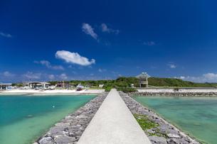小浜島 南の島の静かな漁港の写真素材 [FYI01237938]