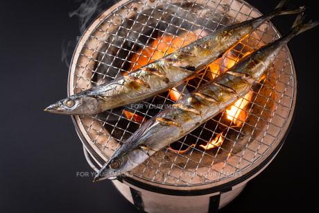 秋刀魚を焼くの写真素材 [FYI01238835]