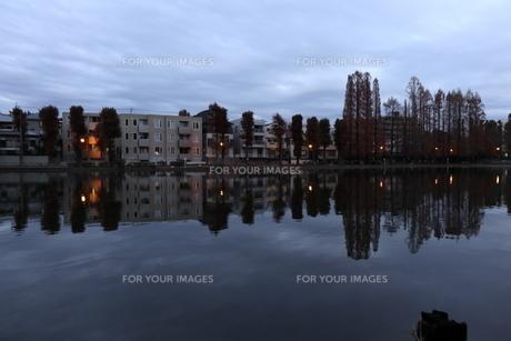 池と町並みの写真素材 [FYI01239659]