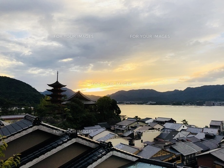 宮島 夕景 風景の写真素材 [FYI01239677]