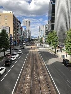 広島県広島市 路面電車の線路の写真素材 [FYI01240171]