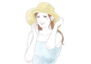 麦わら帽子の女性のイラスト素材 [FYI01241341]