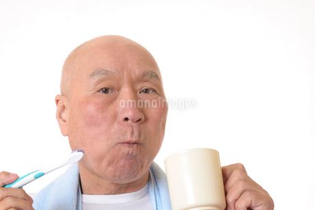 歯を磨く日本人シニアの写真素材 [FYI01241570]