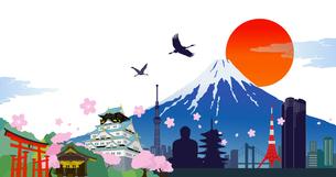 日本のシンボルと桜の季節 イラストのイラスト素材 [FYI01241946]