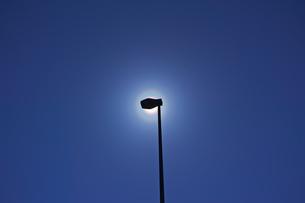 街路灯で太陽を隠した花粉光環の写真素材 [FYI01242393]
