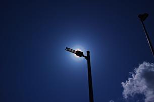 細長い街路灯で太陽を隠した花粉光環の写真素材 [FYI01242395]