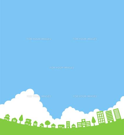 街並みと空と入道雲 背景素材のイラスト素材 [FYI01242618]