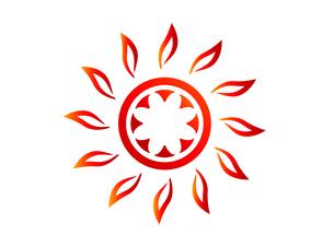 燃え盛る太陽のシンボルマークのイラスト素材 [FYI01242684]