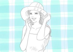 麦わら帽子の女性(線画)のイラスト素材 [FYI01242841]