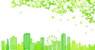 新緑の木漏れ日からのぞむ街並み のイラスト素材 [FYI01243040]