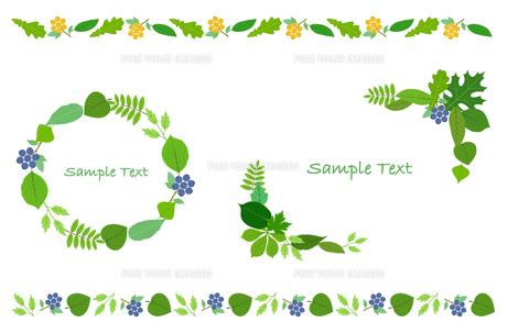 葉の装飾フレームセットのイラスト素材 [FYI01243062]