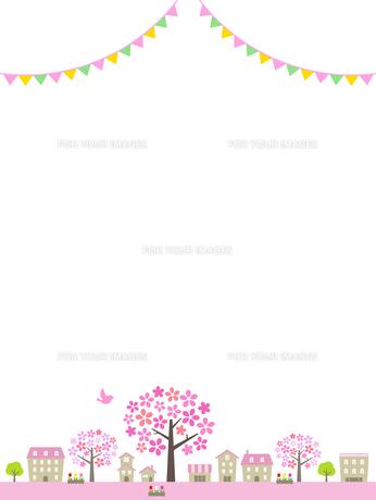 春の街並み 大きな桜の木 飾りのイラスト素材 [FYI01243076]