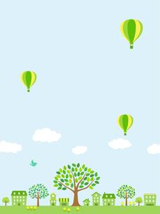 大きな木 街並み 気球のイラスト素材 [FYI01243077]
