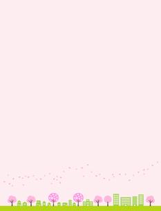 花吹雪 街並みのイラスト素材 [FYI01243079]
