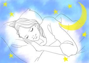 眠る女性(線画)のイラスト素材 [FYI01243716]