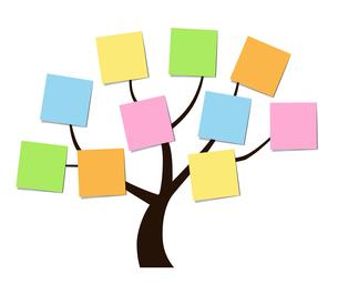 木と付箋のデザイン素材のイラスト素材 [FYI01243832]