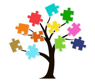 木とパズルのデザイン素材のイラスト素材 [FYI01243833]