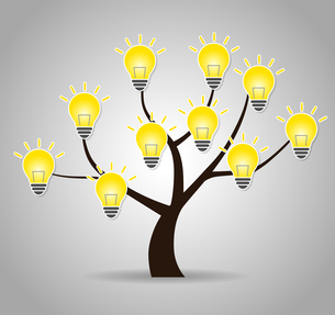木と電球のデザイン素材のイラスト素材 [FYI01243838]