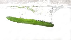 水中のキュウリの写真素材 [FYI01243959]