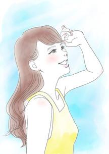 日差しと女性のイラスト素材 [FYI01244573]