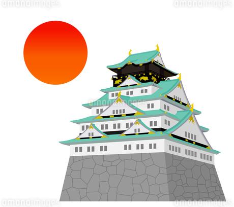 日本のお城と太陽のイラスト素材 [FYI01244608]