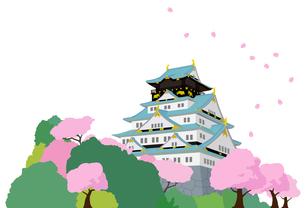 城と桜の風景のイラスト素材 [FYI01244609]