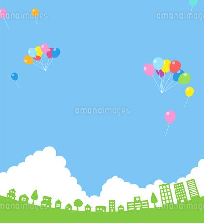 街並み 入道雲と青空 風船のイラスト素材 [FYI01244611]